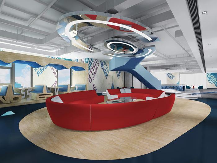 信息科技公司办公室休息区域软装设计方案效果图