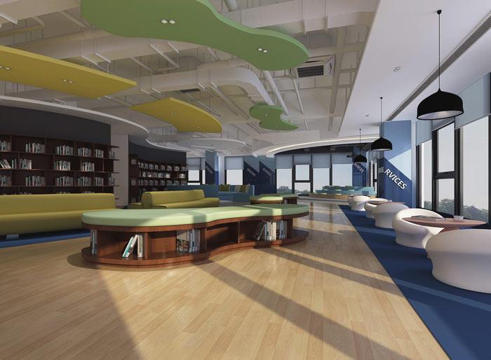 信息科技公司办公室书吧软装设计方案效果图