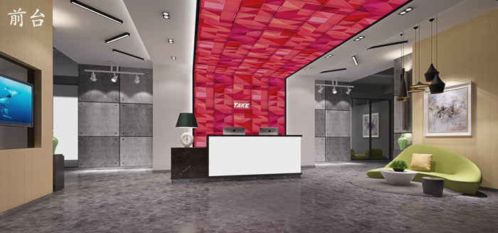 广告制作公司办公室前台装修设计效果图