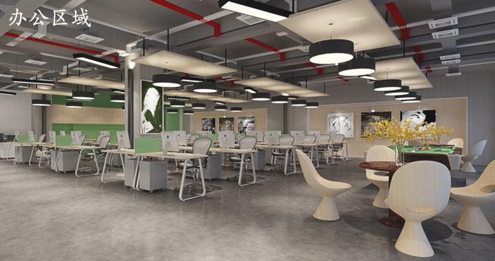 广告制作公司办公室办公区域装修设计效果图