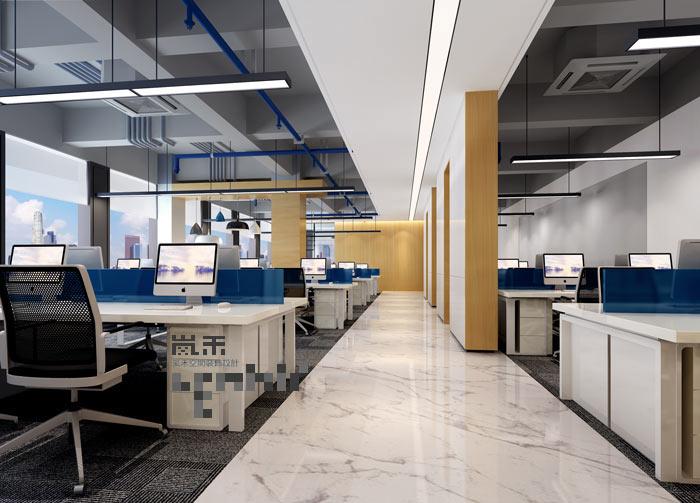 极简办公室办公区域装修设计效果图