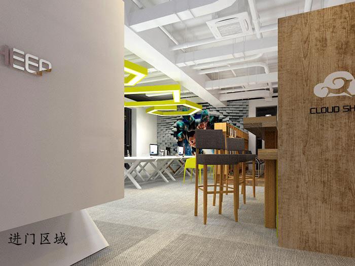动漫公司办公室进门区域软装设计方案效果图