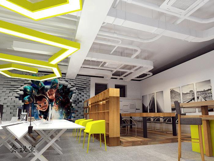 动漫公司办公室会议室软装设计方案效果图