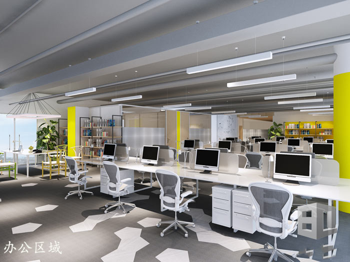 电子商务外包公司办公室办公空间装修设计效果图