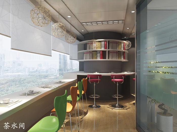 电子商务外包公司办公室茶水间装修设计效果图