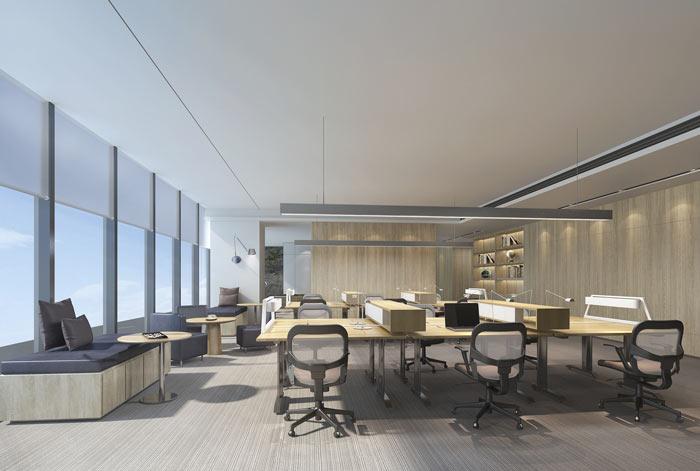 能源公司办公室办公区域设计方案效果图