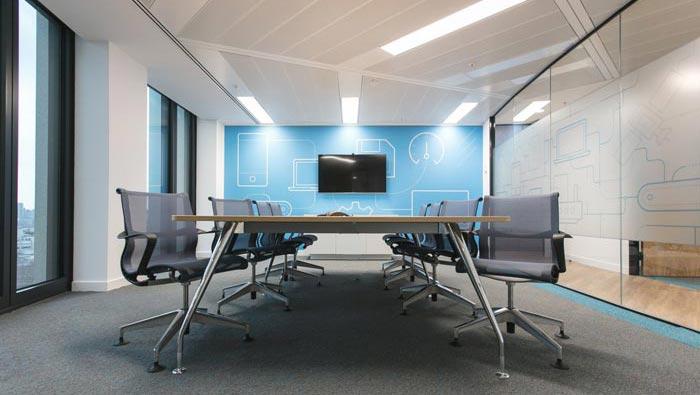 科技办公室前台装修设计效果图