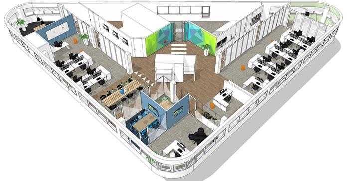 代步车公司办公室设计方案俯视图