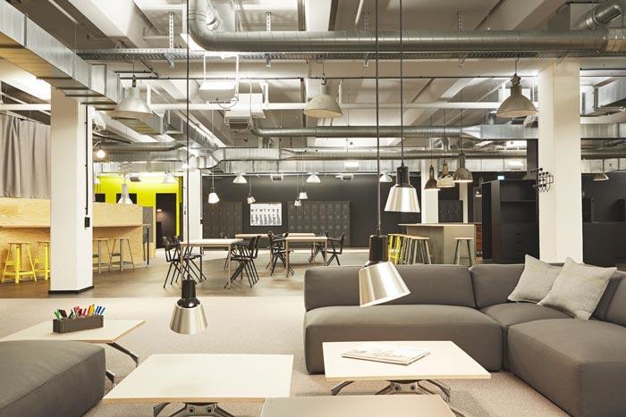 开放创意办公室接待区域装修设计实景图