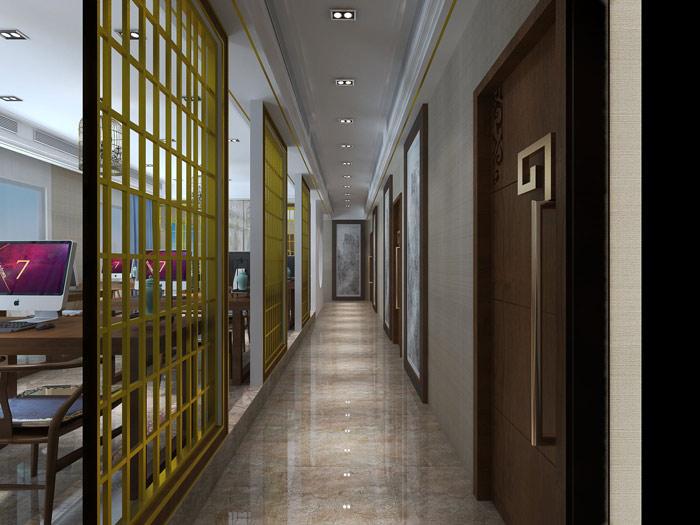 新中式风格办公室过道设计方案效果图