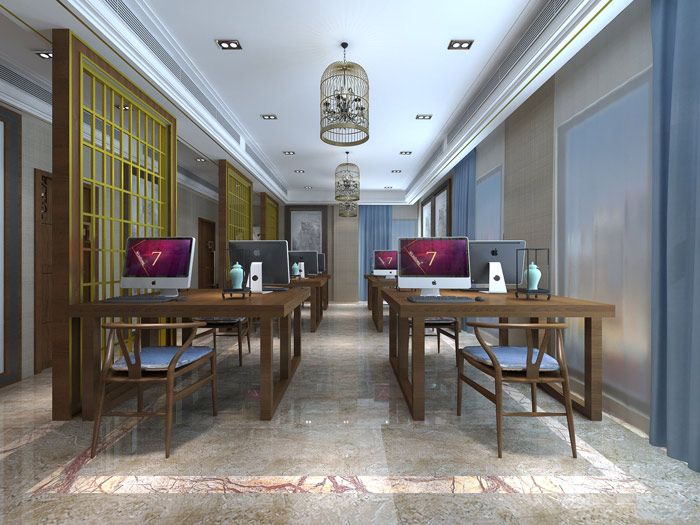 新中式风格办公室办公区域设计方案效果图