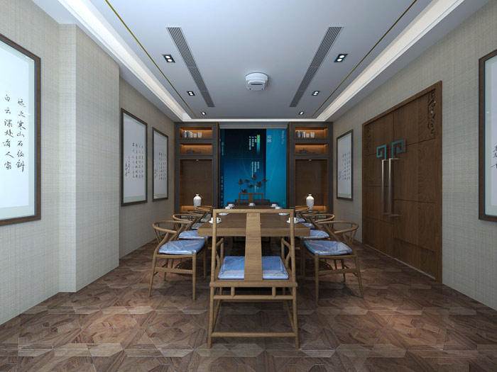 新中式风格办公室会议室设计方案效果图