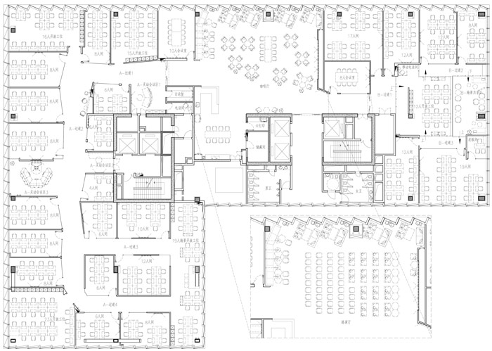 联合办公空间设计方案平面图