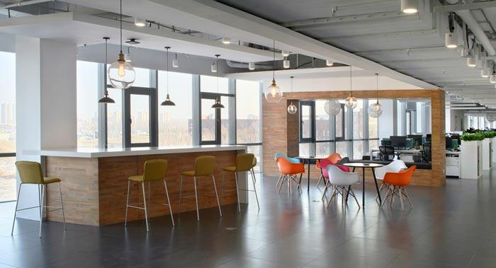 企业总部办公室交流区装修设计效果图