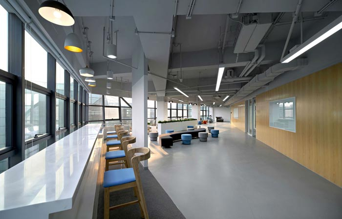 互联网公司办公楼吧台装修设计效果图