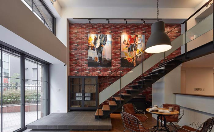 办公室改造墙画装修设计案例效果图