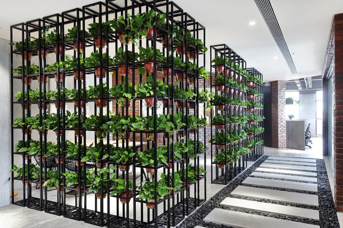 设计公司办公室绿植装修设计效果图