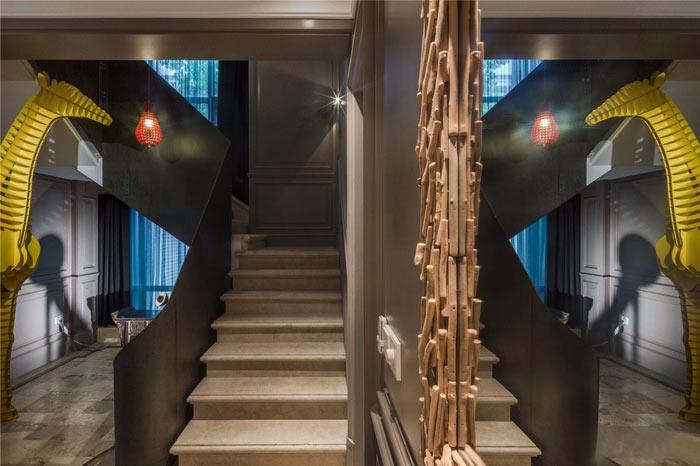 禅意办公室楼梯装修设计效果图