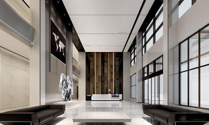 集团总部办公室前台装修设计效果图