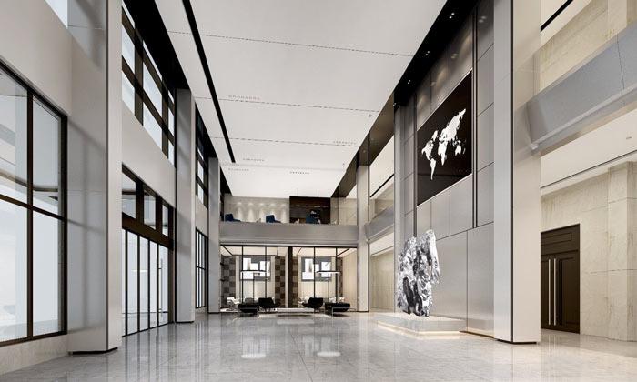 集团总部办公室大厅装修设计效果图