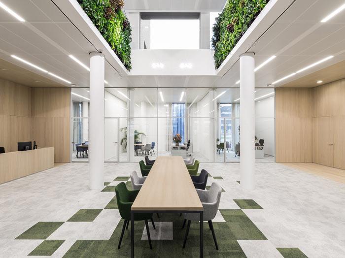 绿色食品公司办公室前台装修设计效果图