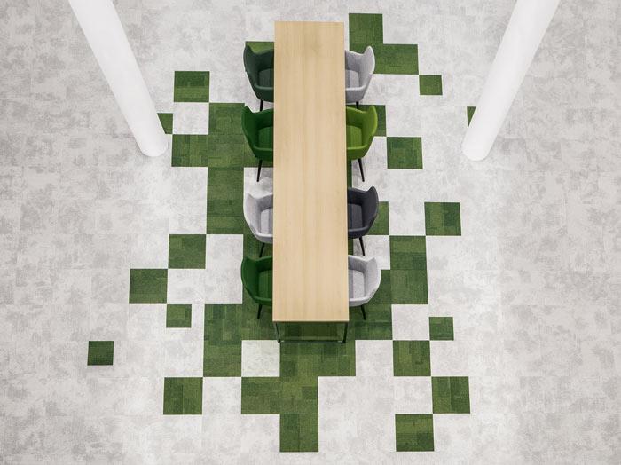 绿色食品公司办公室装修设计俯视图