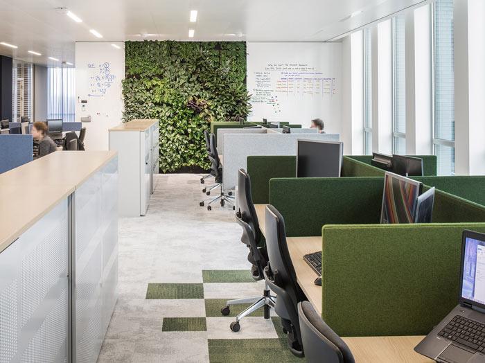 绿色食品公司办公室办公桌装修设计效果图