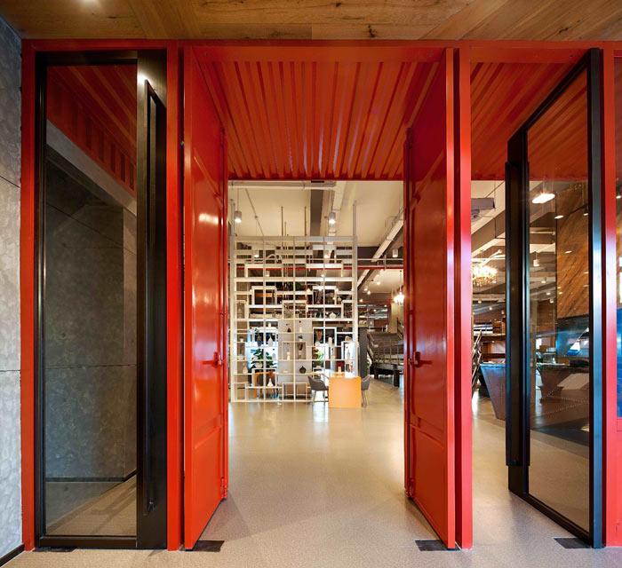 创客孵化中心办公楼进门区装修设计效果图