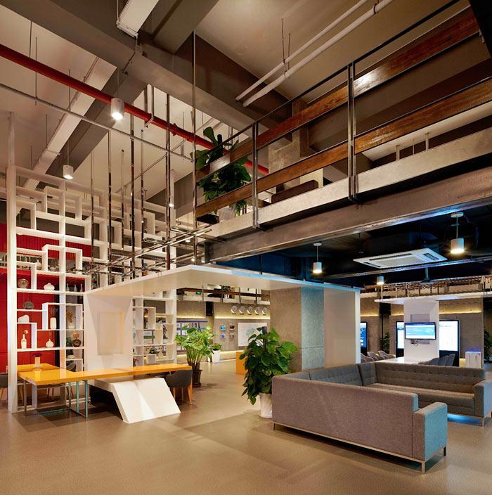 创客孵化中心办公楼接待区装修设计效果图
