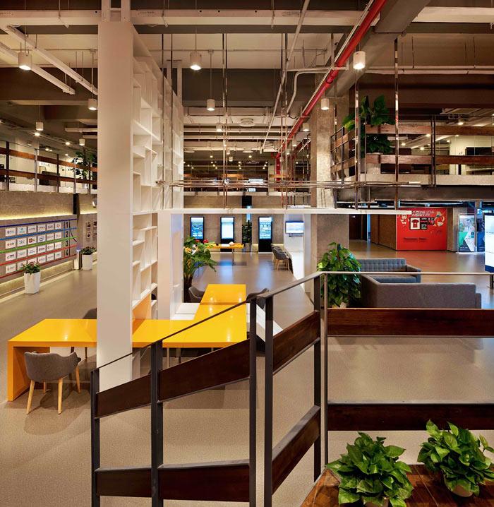 创客孵化中心办公楼一楼俯视装修设计效果图
