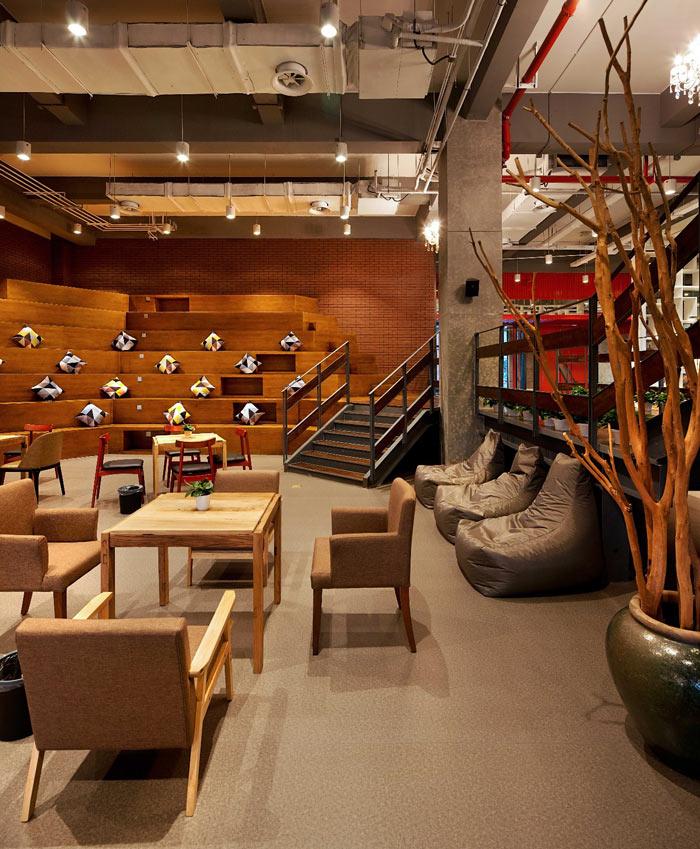 创客孵化中心办公楼休息区域装修设计效果图