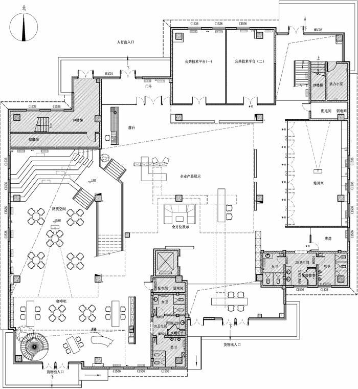 创客孵化中心办公楼一楼设计平面图