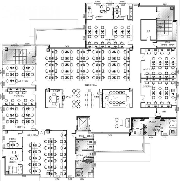 创客孵化中心办公楼办公区设计平面图