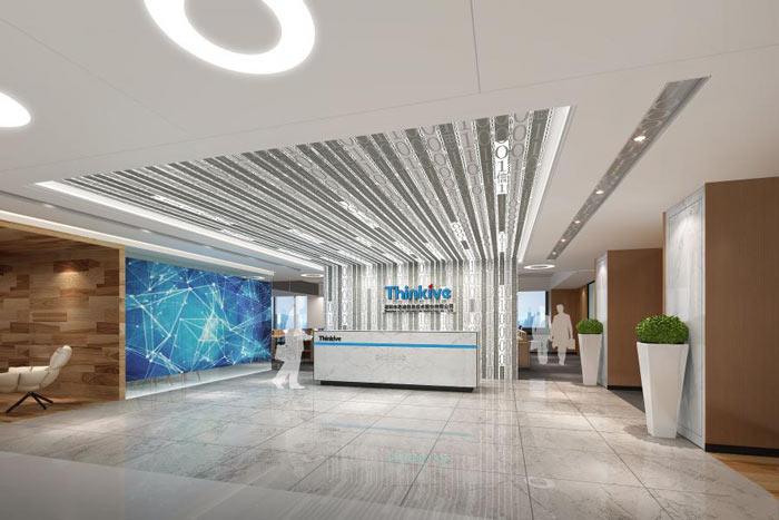 信息技术公司办公室前台装修设计效果图