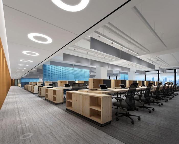 信息技术公司办公室办公区域装修设计效果图