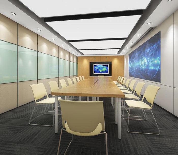 信息技术公司办公室汇报室装修设计效果图