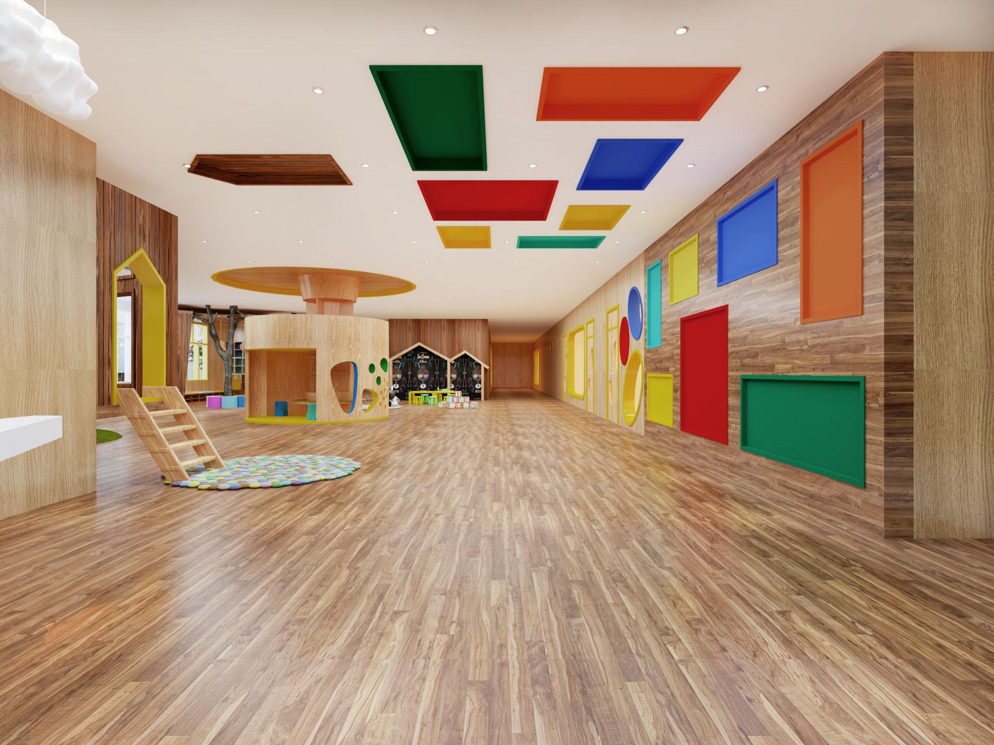 """首先,墙体和室内造型因以卡通、可爱为主,设计师要站在孩子的角度想问题,用孩子的眼光看世界。所有的台阶、扶手。门、窗等物品都要复合孩子们的使用特点,室内小凳子、小桌子、小椅子、小楼梯、图书区的小矮凳等,尽可能为孩子们营造一个""""小人国"""",室内装饰物也要很""""卡哇伊"""",比如像蘑菇一样的玩具树,矮小的像房子一样造型的涂鸦墙,"""