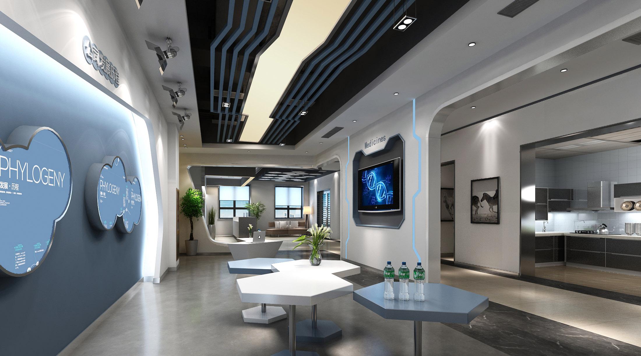 青岛办公室装修之点云生物科技有限公司室内装饰效果图