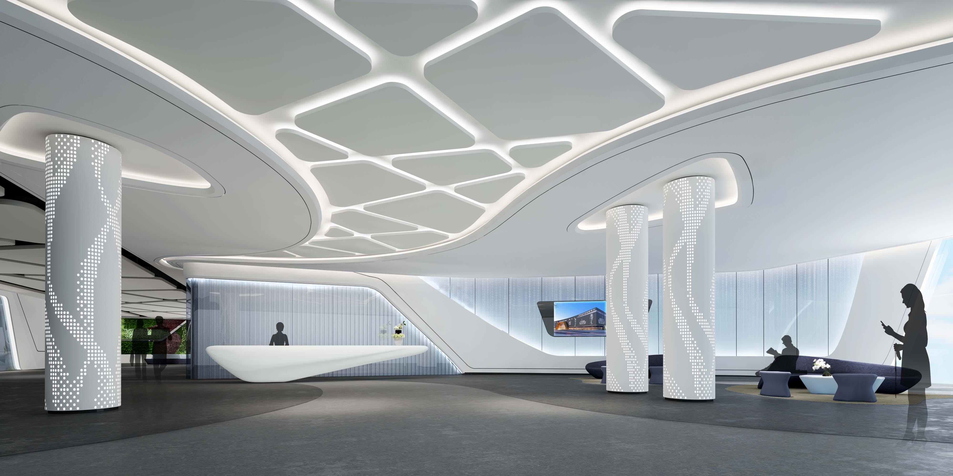 青岛办公楼装修之科技公司前厅设计赏析